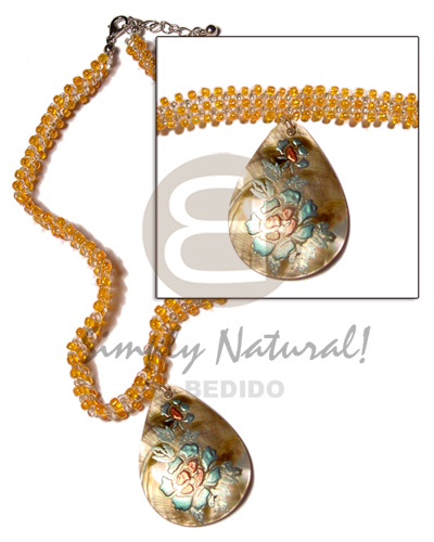 Wholesale philippine handmade wood pendants philippines exported philippine exported clear orange glass beads flat choker 45mm teardrop handpainted blacklip pendant aloadofball Gallery