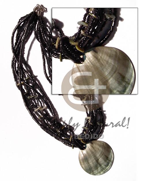 Wholesale philippine handmade wood pendants philippines exported philippine exported 6 layers black glass beads coconut 2 3mm heishi shell chips blacklip 50mm round pendant aloadofball Gallery